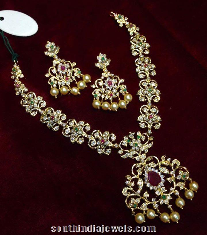 CZ Multi Color imitation stone necklace design