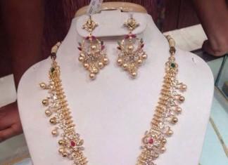 Diamond brial haram with chandbali earrings