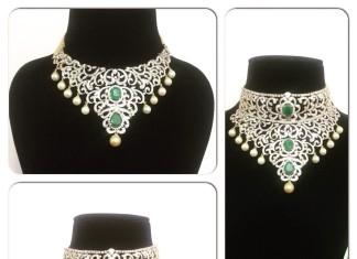 Stylish bridal diamond choker necklac models