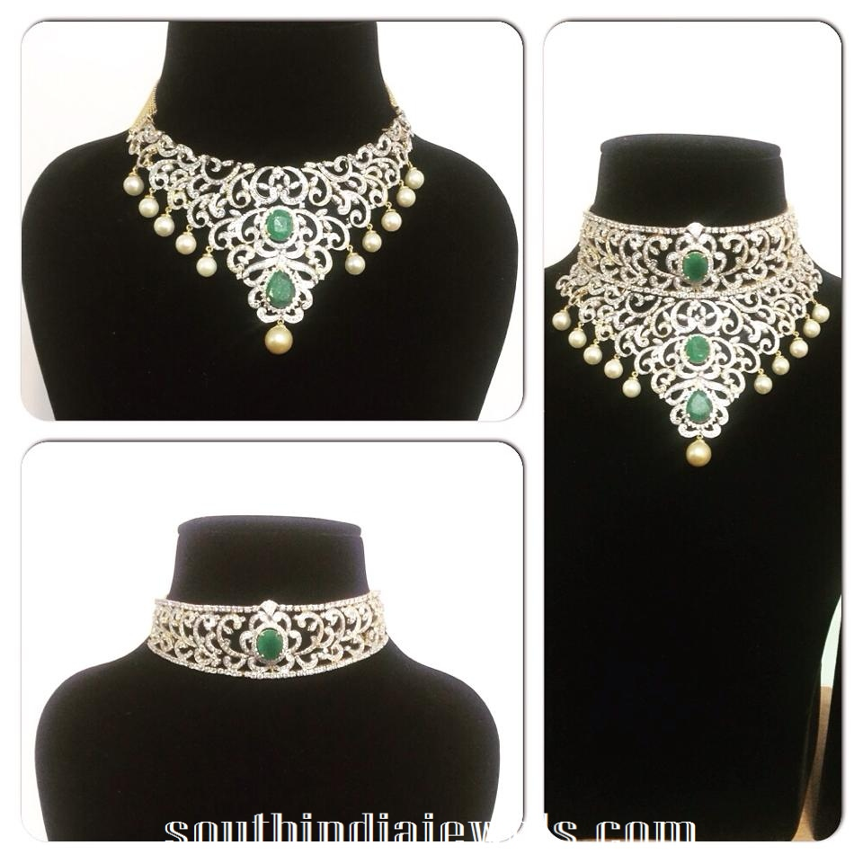 Stylish bridal diamond choker necklac models