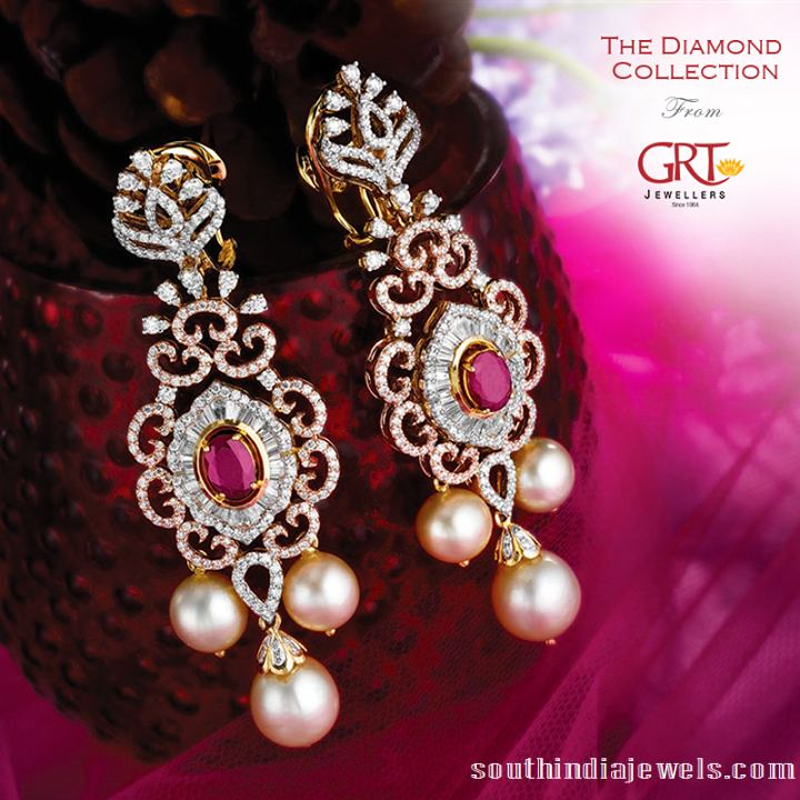 Latest diamond earrings desings from GRT jewellers