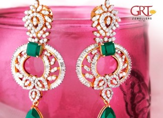 Diamond Earrings with Emeralds from GRT Jewellers