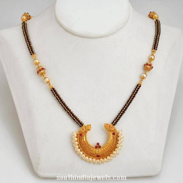 Gold Black Bead Necklace Design