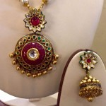 Gold Fancy Kundan Necklace with Jhumka