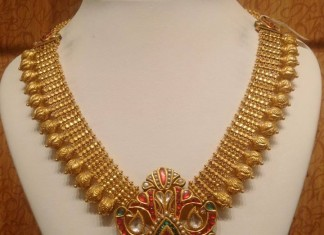 Gold Antique Necklace with Enamel Work