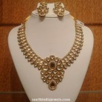 Gold Kundan Necklace with Earrings