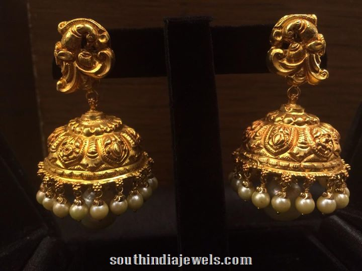 Gold Matt Finish Jhumka South India Jewels