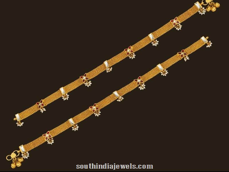Gold Kundan Anklet design from VBJ