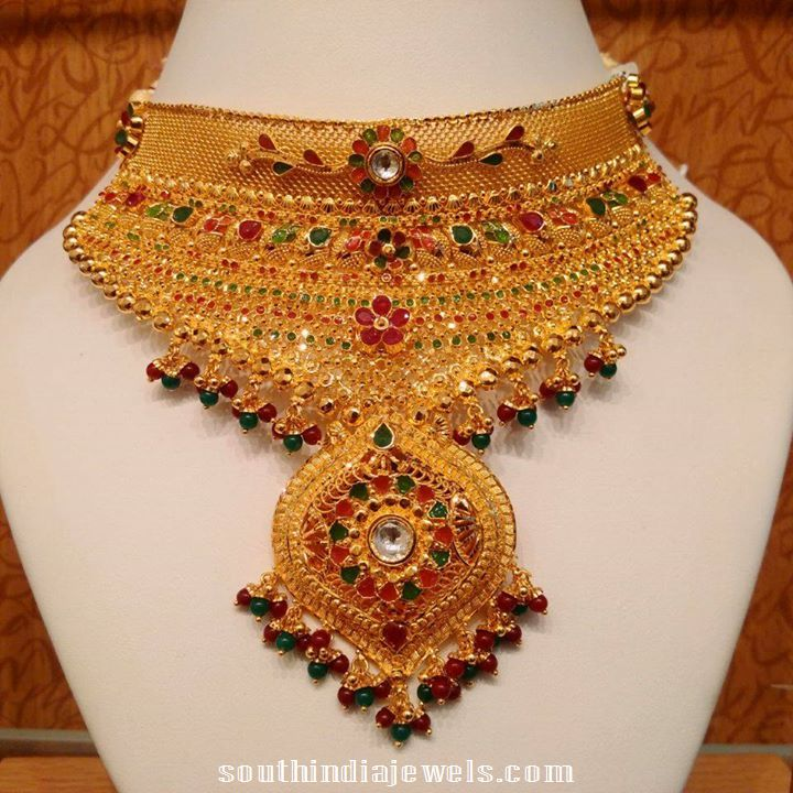 Light  weight gold choker with meenakari work