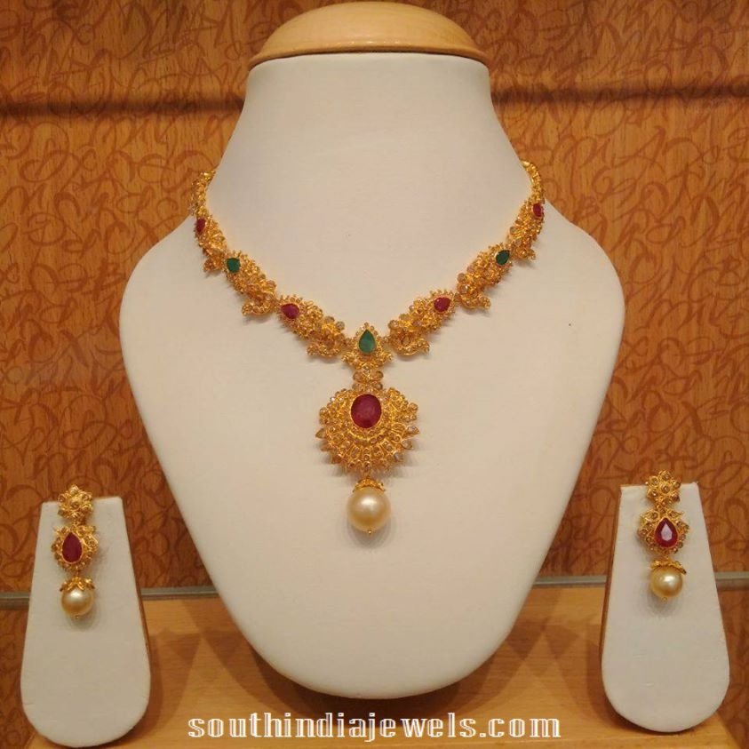 necklace gold artificial detail on weight fancy sets buy design set light product fashion