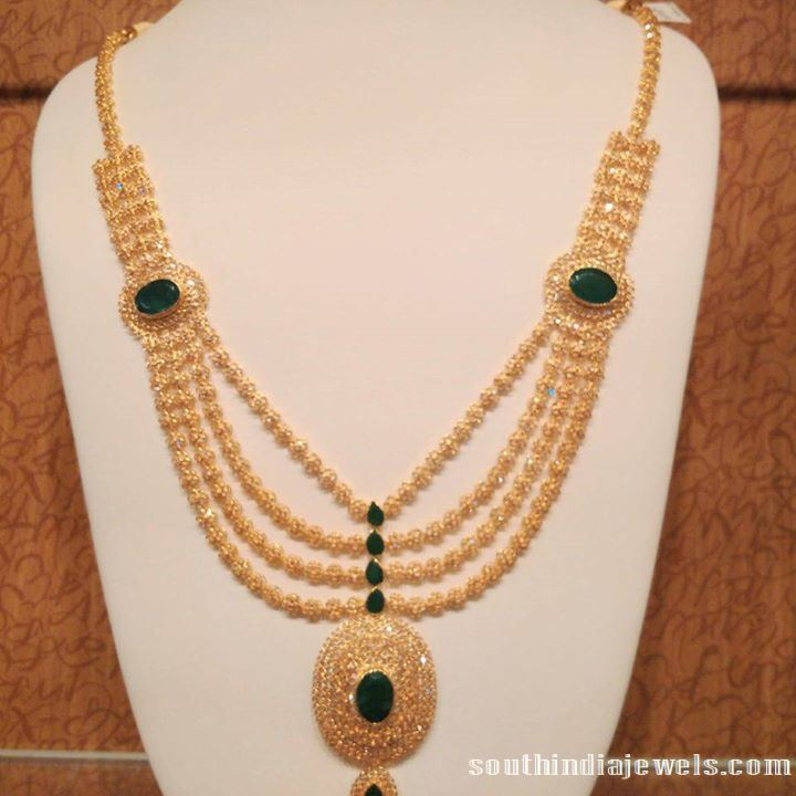 Mulilayer CZ stone Emerald necklace design