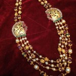 Multilayer Beaded Gold Necklace with Side Mogappu
