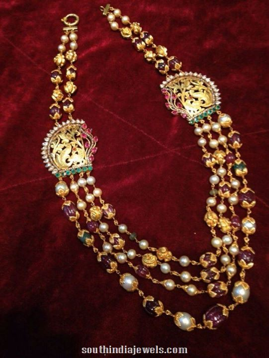 Multilayer gold pearls mala with side mogappu