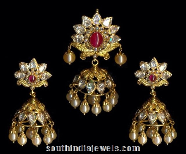 Pachi Jhumka pendant with earrings