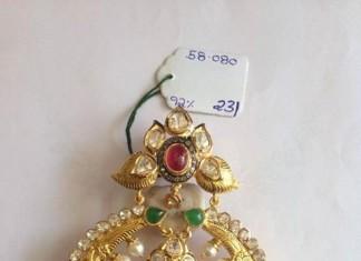 Pearl Chandbali with kundan work