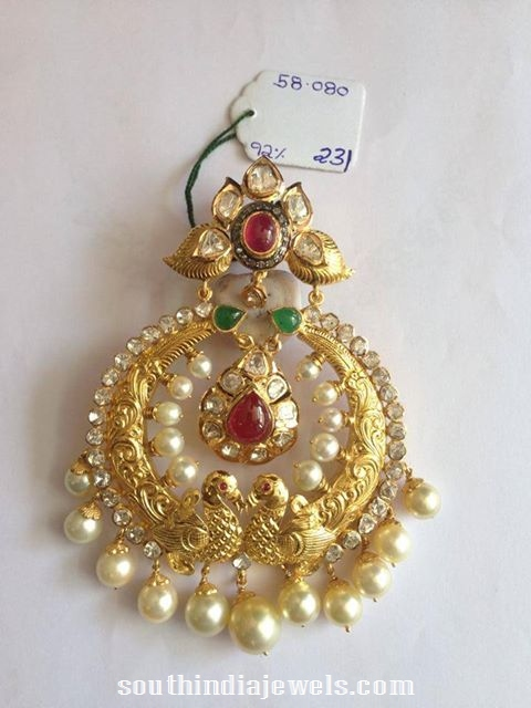 Pearl Chandbali with kundan work
