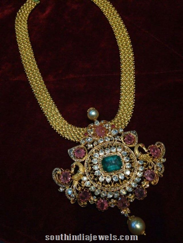 Gold Short Necklace with rubies and emeralds