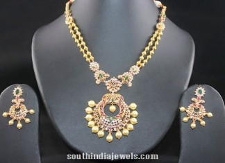 Antique CZ stones and pearls studded necklace