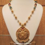 Gold Beaded Necklace with Antique Pendant