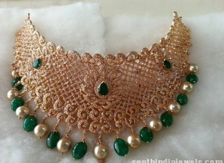 Diamond emerald choker necklace set model
