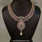 Latest Model Diamond Necklace with Emeralds