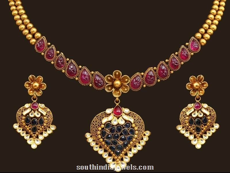 22K gold necklace set design from VBJ
