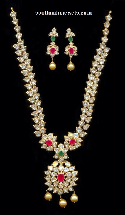 Gold iuncut diamond pachi haram set