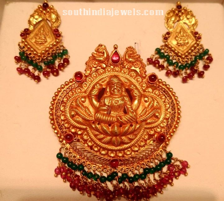22k traditional temple pendant south india jewels traditional pendant set from premraj aloadofball Choice Image