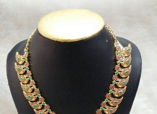 Artificial Jewellery designs mango mala with earrings