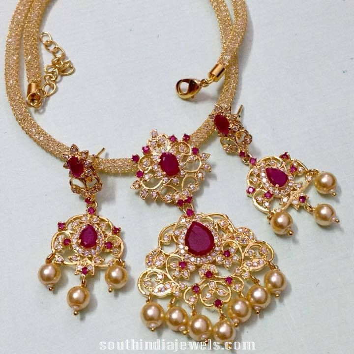 Imitation Ruby Necklace with earrings