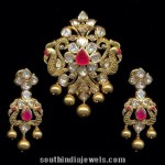 Gold Peacock Pendant Set with Chandbali Earrings