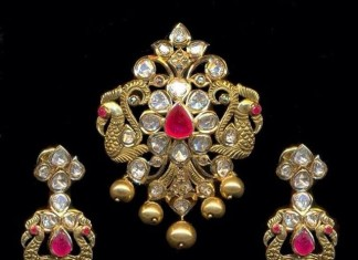 Gold Pachhi peacock pendant sets with chandbali earrings