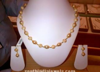 gold -pearl CZ Stone mala necklace