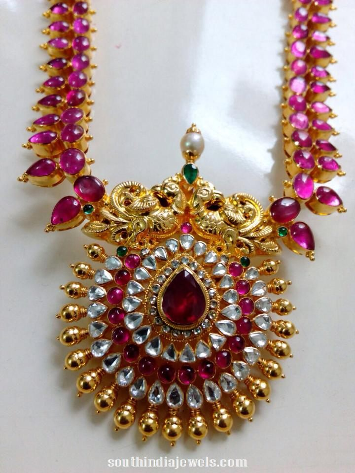 Burma Ruby rose cut diamond haram from rkr jewels