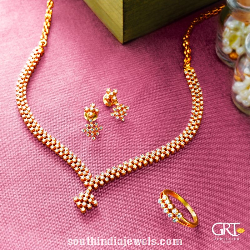 Simple Diamond Necklace Set From GRT Jewellers ~ South India Jewels