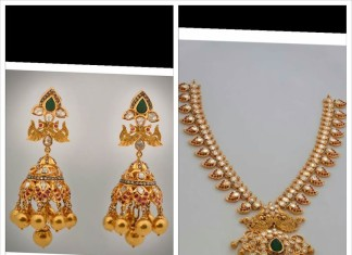 22 Carat Gold Pachi Mango necklace and Jhumka from MOR Jewellers