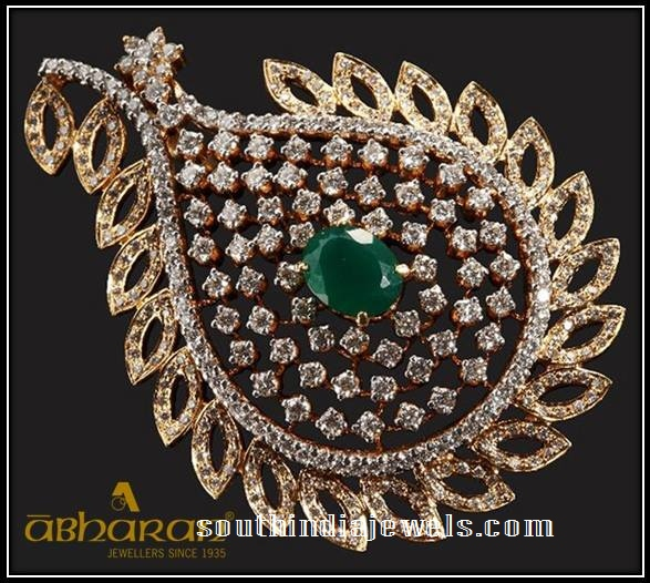 613278c32a950 22K Gold Brooch From Abharan Jewellers ~ South India Jewels