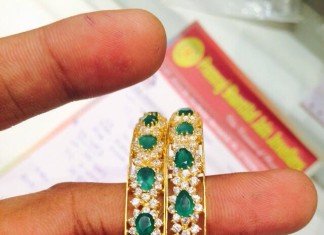 22k Gold Emerald Bangle latest design