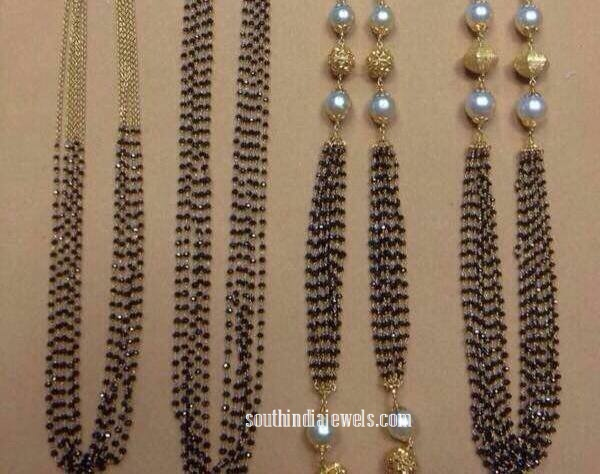 22K gold fancy black beaded chains