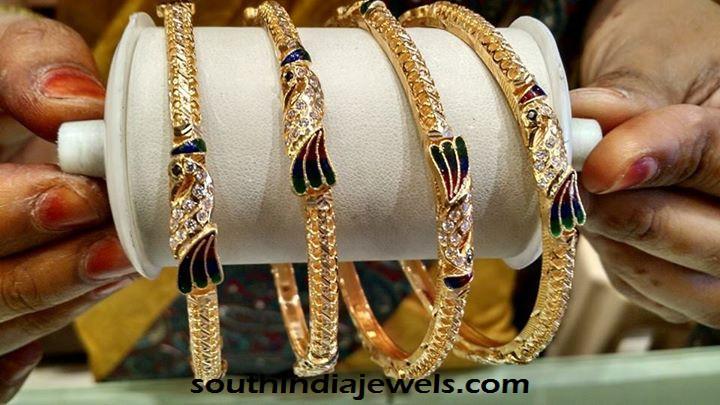 22k gold peacock stone bangles