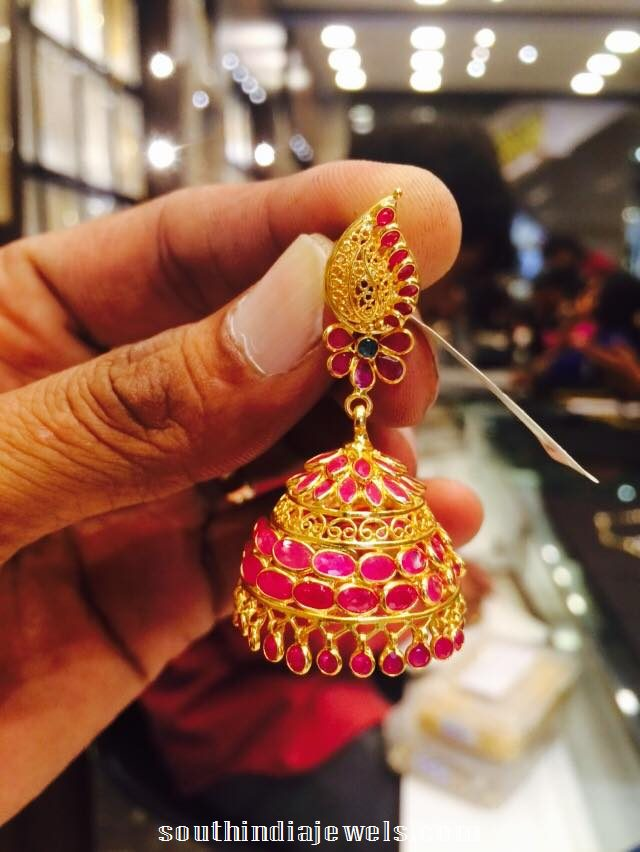 22K gold ruby jhumka latest model