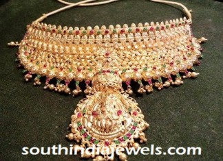22kt gold temple jewellery choker necklace set