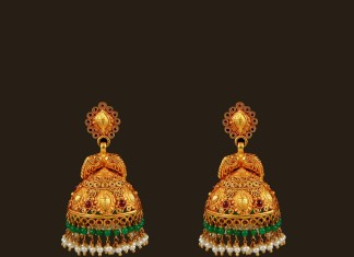 Gold Bridal Antique Jhumka from VBJ