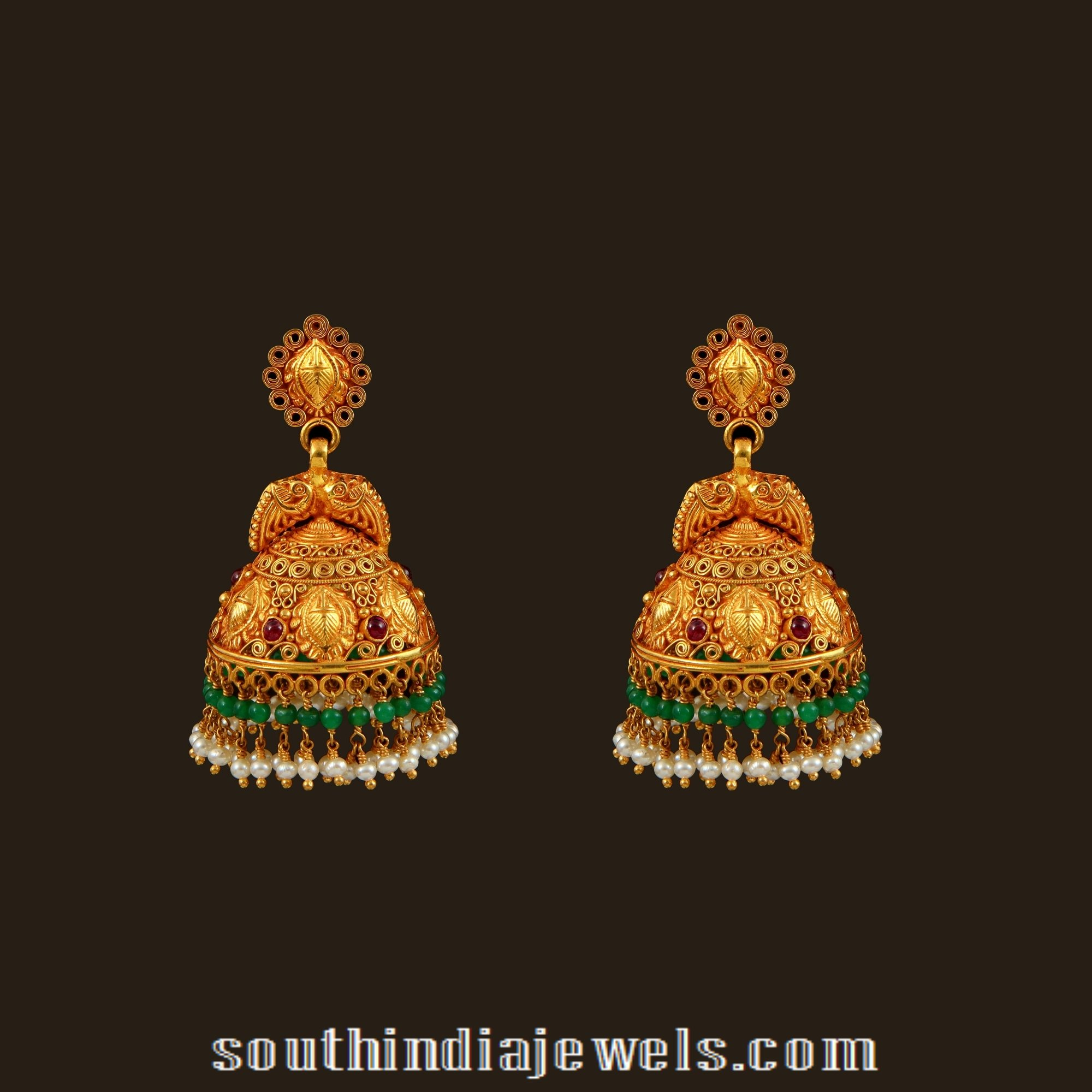 Gold Antique Bridal Jhumka From Vbj South India Jewels