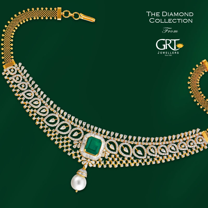 Diamond Emearald Necklace From GRT jewellers