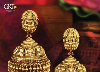 GRT jewellers gold antique temple jhumka design