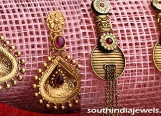 Gold designer earrings from Kalyan Jewellers