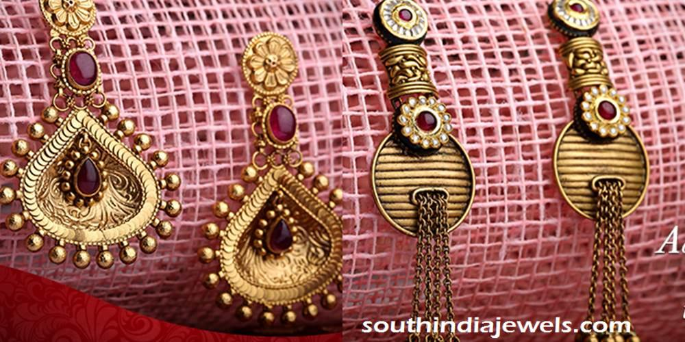 Gold designer earrings from Kalyan Jewellers