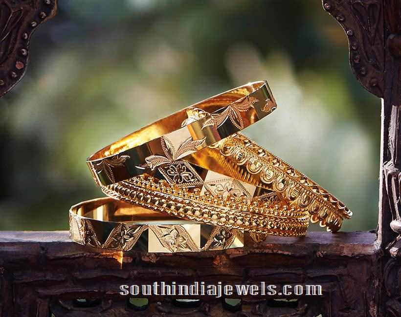Gold Bangles From Tanishq ~ South India Jewels