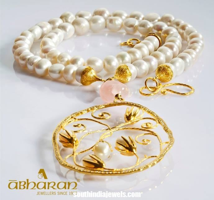 Trendy gold pearl necklace from Abharan jewellers